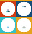 flat icon cleaner set of broom cleaning vector image vector image