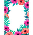 floral frame tropical flowers trendy template vector image vector image