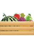 fruits in wooden basket 02 vector image vector image