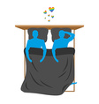 Gays in bed Lovers in bed top view Two blue people vector image