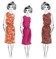 girl floral dresses vector image vector image
