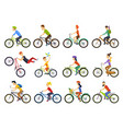 group tiny people riding bikes on city bike vector image