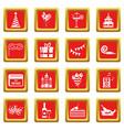 happy birthday icons set red vector image