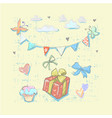 happy birthday set cute elements with gift box vector image vector image
