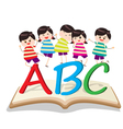 happy Kids Playing with letter and on book vector image vector image