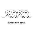 happy new year 2020 minimal line design for vector image vector image