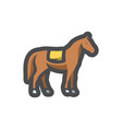 horse with saddle silhouette icon cartoon vector image