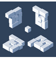 isometric letter b drawn with 3d block cubes vector image