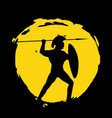 legionnaire warrior silhouette on black background vector image