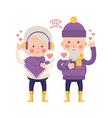 Lovely Senior Couple Sending Love for Valentine vector image vector image