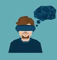 man wearing head-mounted display vector image vector image