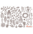 merry christmas and new year linear doodl set vector image