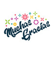 muchas gracias spanish thank you greeting card vector image