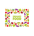 organic food banner template square frame with vector image vector image