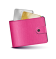 Pink leather wallet vector image