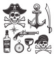pirates attributes set vintage elements vector image vector image