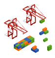 port crane and loading color freight container vector image