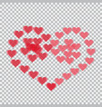 red hearts translucent arranged in a heart shape vector image vector image