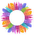 round frame with multicolored boho feathers of vector image