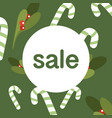 sale banner template design with candy canes on a vector image vector image