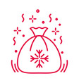 santa sack with christmas presents linear icon in vector image