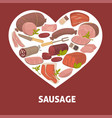sausage butchery shop food meat product vector image vector image