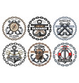 sea sailing marine anchor and compass badges vector image vector image