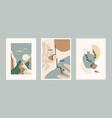 set contemporary art prints line art modern vector image