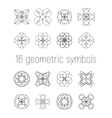 set of 16 linear geometric symbols vector image vector image