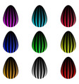 set of colorful striped glowing eggs vector image vector image