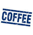 square grunge blue coffee stamp vector image vector image