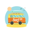 Surf Van on the Beach Flat Design vector image