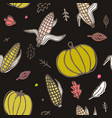 thanksgiving day seamless pattern with corn cobs vector image