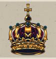 vintage colorful ornate royal crown concept vector image vector image
