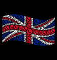 waving uk flag mosaic of phone number items vector image