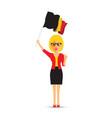 woman waving a belgium flag vector image vector image