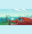 wooden pier and boat on river natural landscape vector image