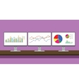 workdesk monitoring graph triple monitor with vector image