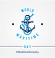 world maritime day with anchor in flat style vector image vector image