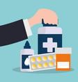 hand holding bottle medicine pharmacy service vector image
