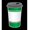 Disposable coffee cup icon with beans logo vector image