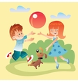 Kids and dog play outdoors in the ball vector image