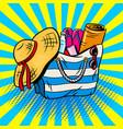 beach bag pop art vector image