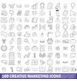 100 creative marketing icons set outline style vector image vector image