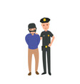 a law enforcement pose with a criminal suspect vector image vector image