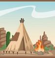 american indian cartoon in desert