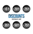 black discount stickers set with sale percents vector image vector image