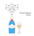 bottle champagne explosion vector image