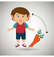 boy cartoon carrot vegetable organic vector image