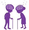 brain sign in heads older in world alzheimers day vector image vector image